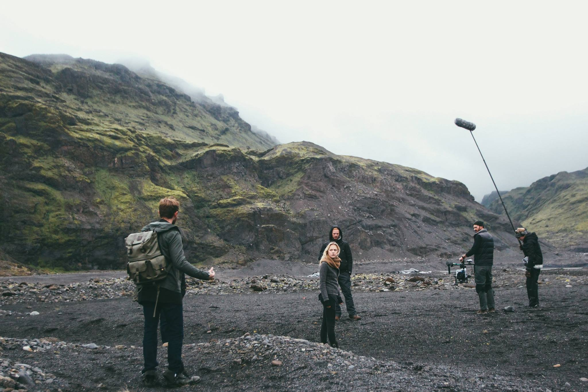 filming on set at eyjafjallajökull glacier