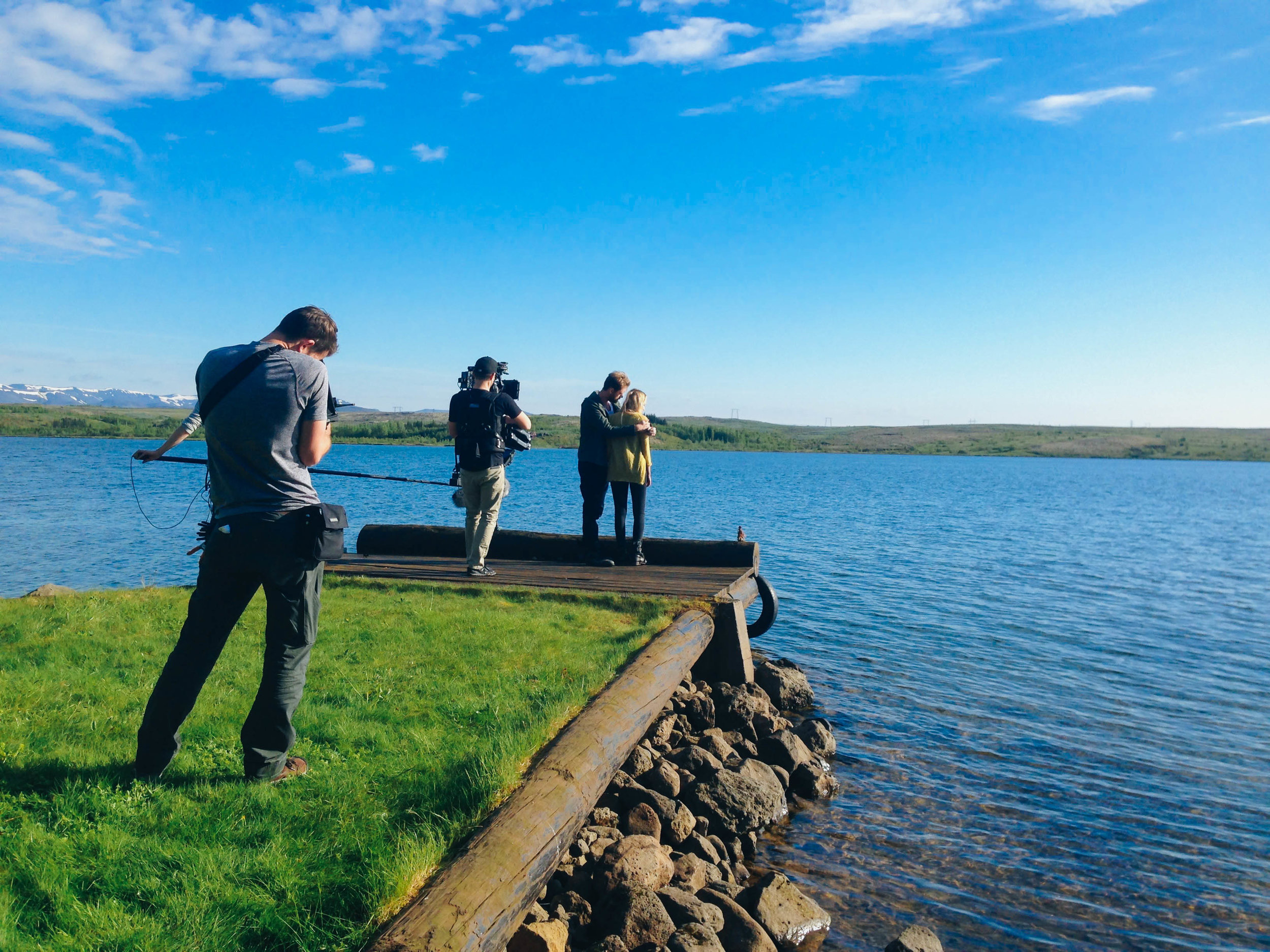 filming a scene just outside of reykjavik