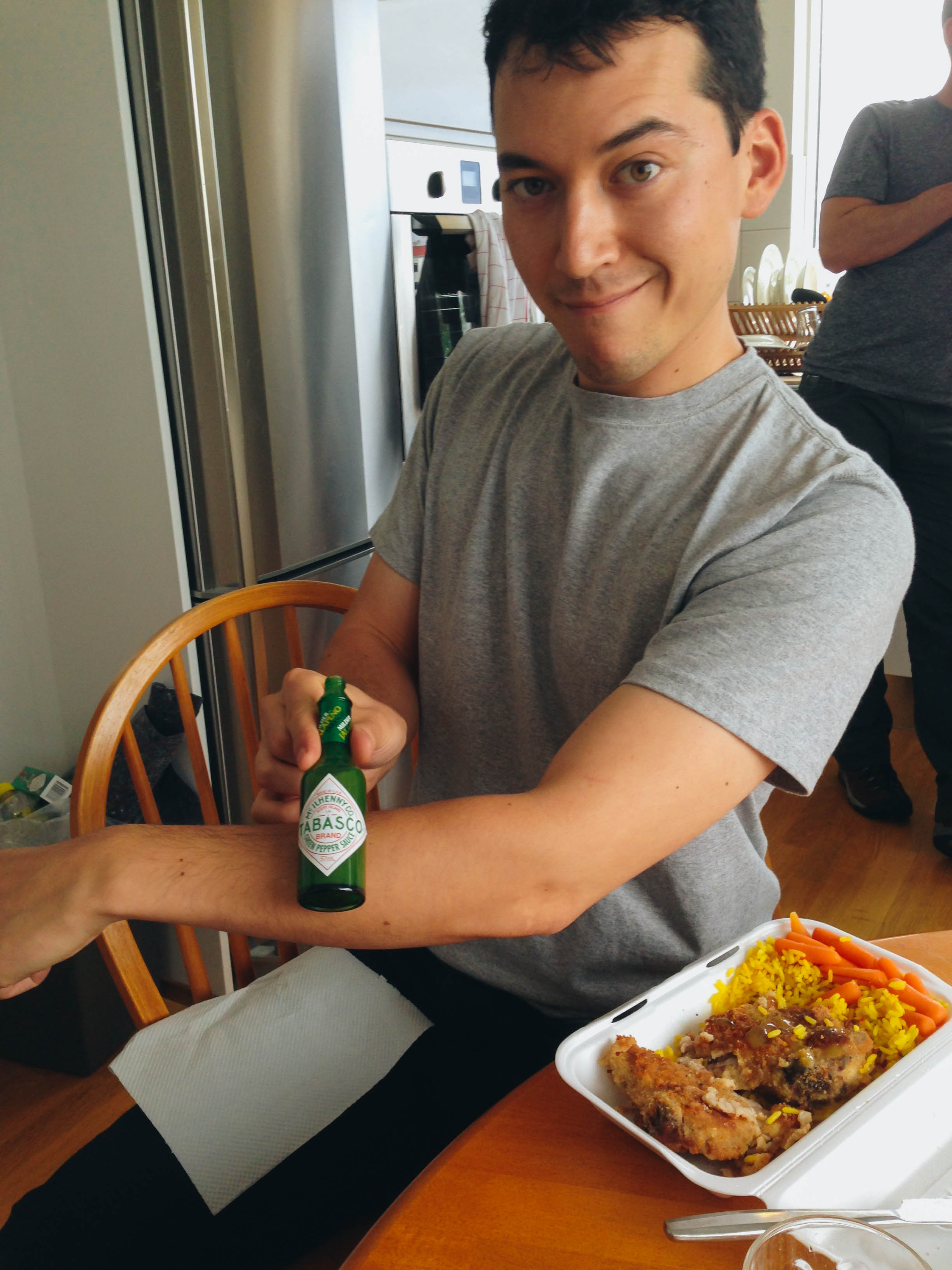 shawn brought green tabasco sauce all the way from USA. we cracked it open to celebrate the first day of filming.