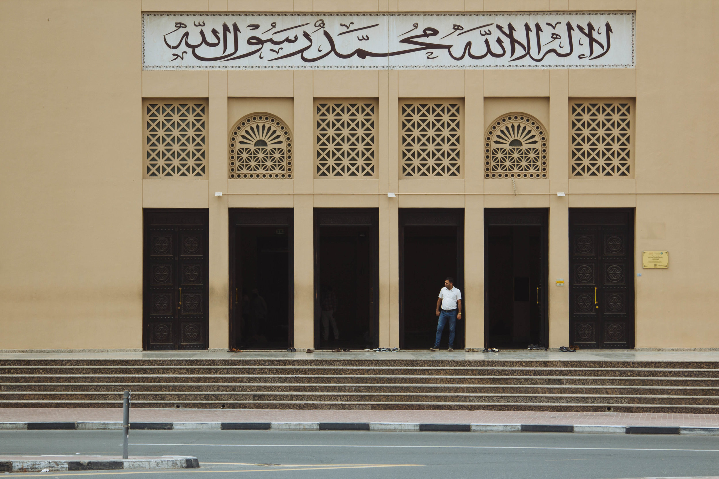 Grand Bur Masjid. If you look closely you can see worshippers' shoes by the entrance doors.
