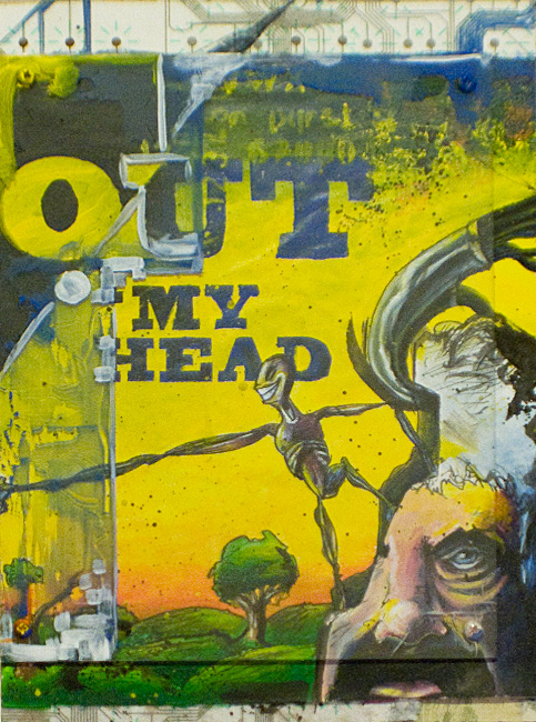 "OUT OF MY HEAD 8""x12"". ACRYLIC, PEN & INK & PAPER COLLAGE ON WOOD (SOLD)"