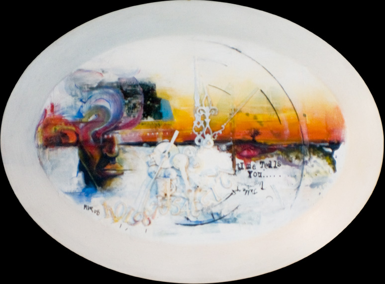 "TIME TELLS YOU 12""x4.5"". ACRYLIC, CLOCK PARTS & PAPER COLLAGE ON A PLATE (SOLD)"