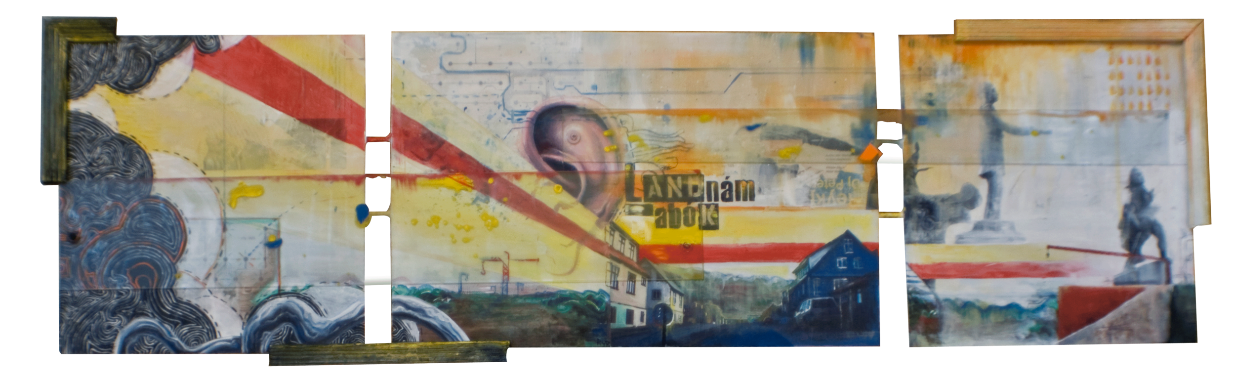 "THE BOOK OF SETTLEMENT 44""x13.5"". ACRYLIC PAINT,  PAPER COLLAGE & PLEXI ON WOOD"