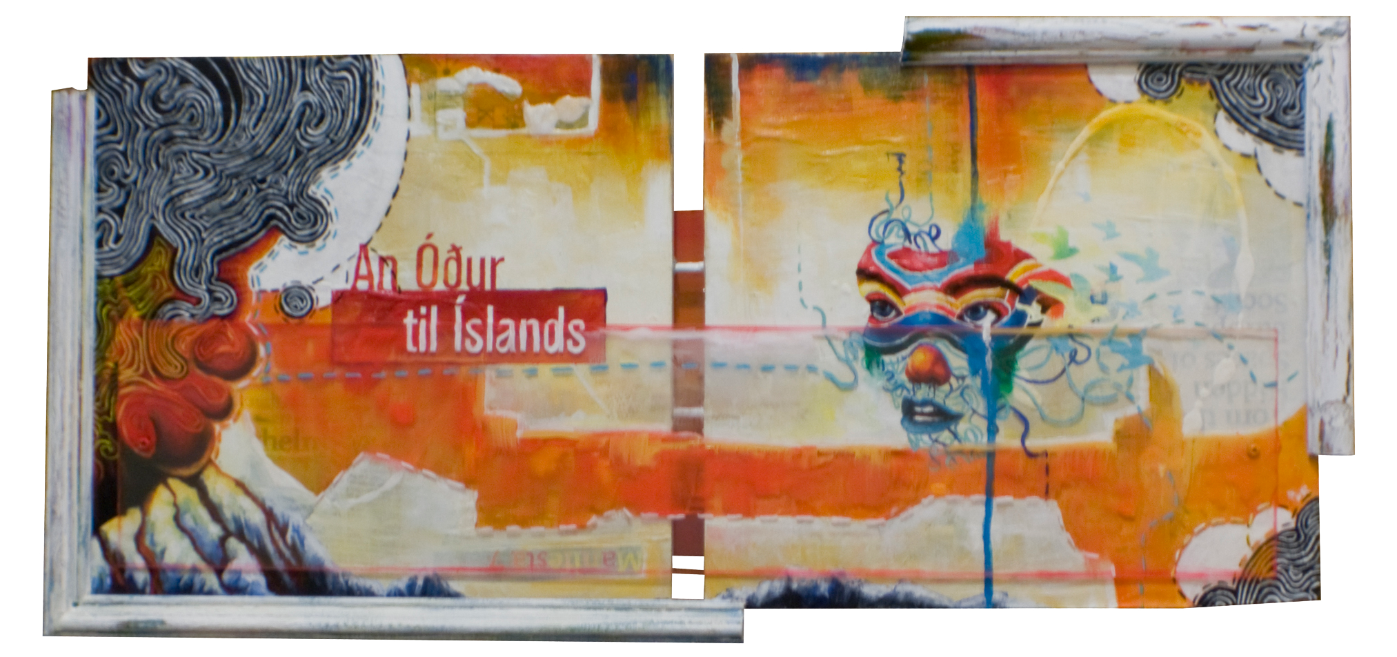 "AN ODE TO ICELAND 27""x13.5"". ACRYLIC PAINT,  PAPER COLLAGE & PLEXI ON WOOD (SOLD)"