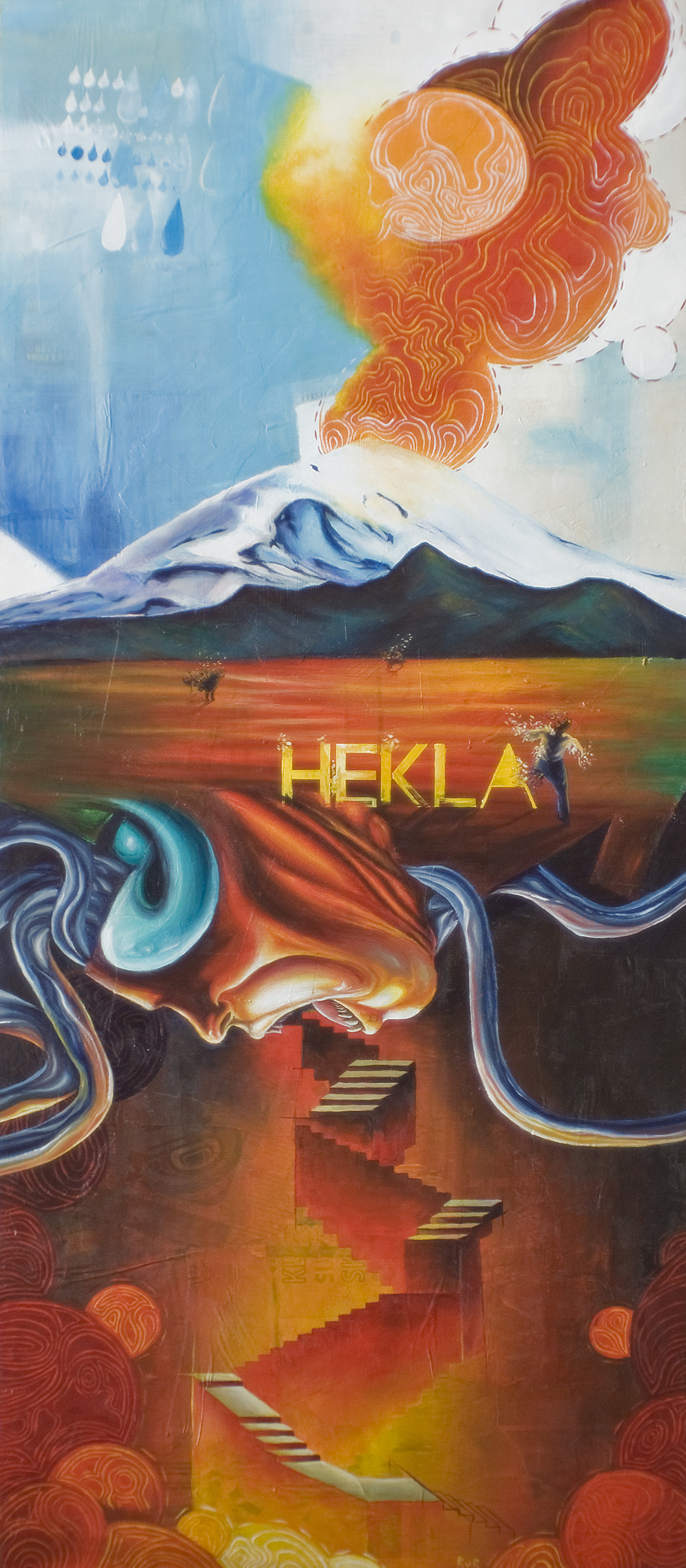 "HEKLA 19.5""x47"". ACRYLIC PAINT & PAPER COLLAGE ON WOOD (SOLD)"