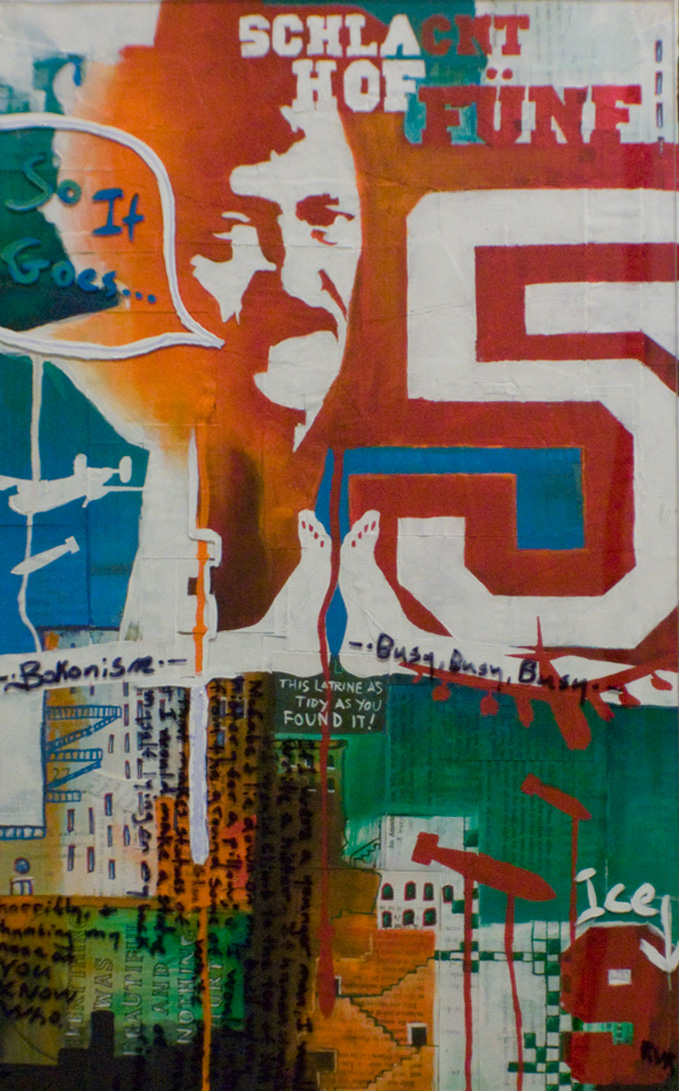"""SEE THE KURT, SEE THE CRADLE 20""""x15"""". ACRYLIC PAINT, PAPER COLLAGE, & PLEXI ON WOOD"""