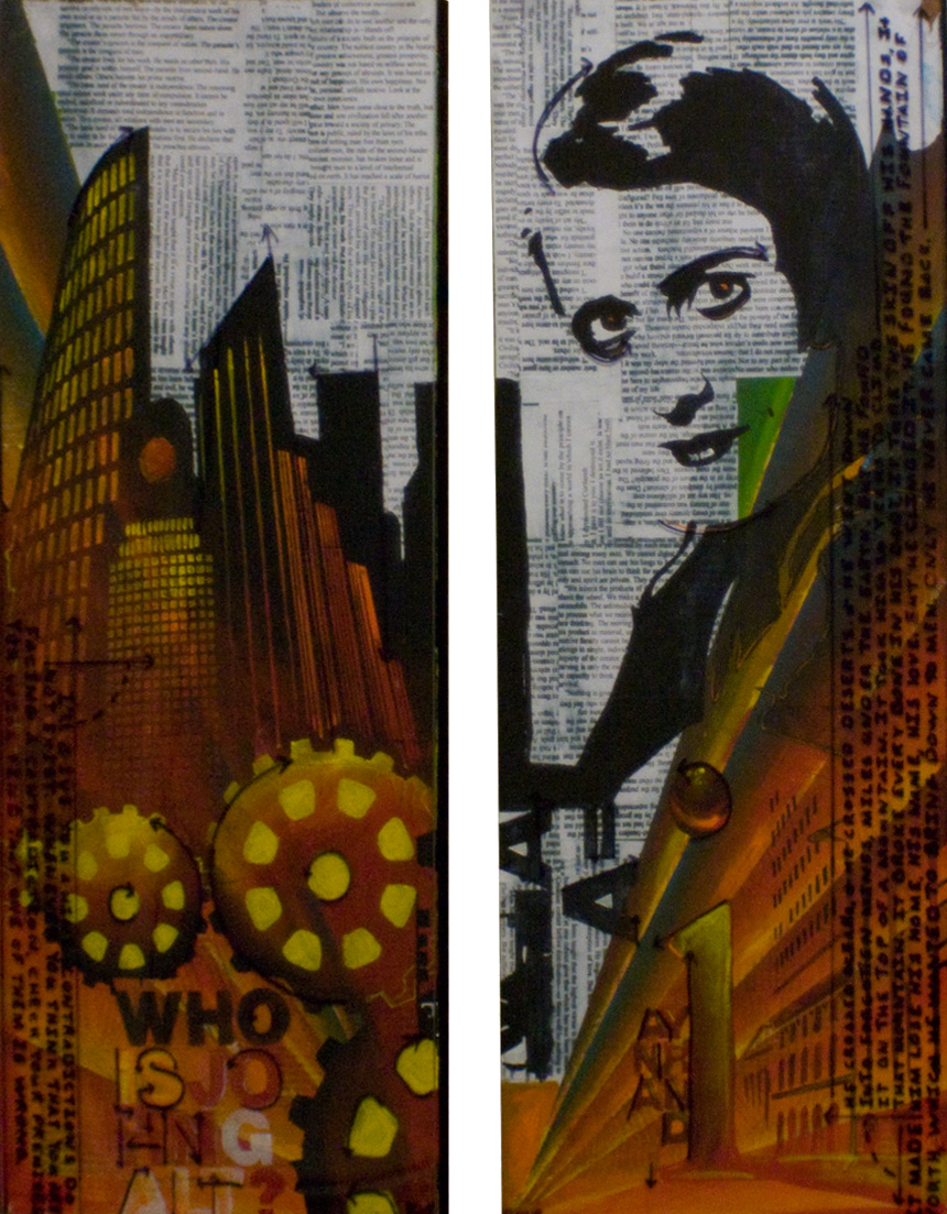 """I/AYN THE LIVING;AN ANTHEM 22.5""""x29.5"""". ACRYLIC PAINT, PAPER COLLAGE, & PLEXI ON WOOD (SOLD)"""