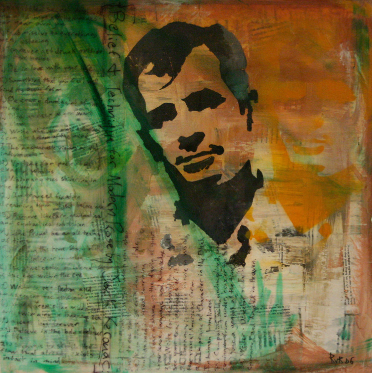 """BELIEF AND TECHNIQUE IN MODERN PROSE BY JACK KEROUAC 24""""x24"""". ACRYLIC PAINT, PAPER COLLAGE, & PLEXI ON WOOD (SOLD)"""
