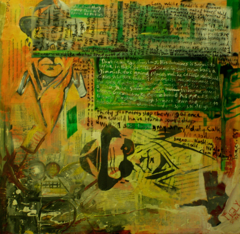 """THE NAKED CUT UP APPETIZER 24""""x24"""". ACRYLIC PAINT, PAPER COLLAGE, & PLEXI ON WOOD (SOLD)"""