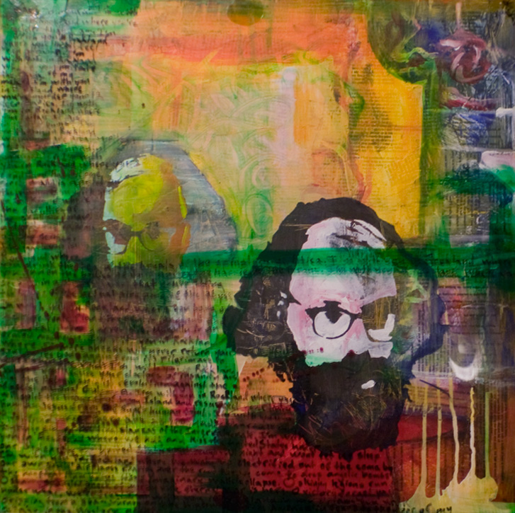 """ALLEN'S KICK JUMP HOWL 24""""x24"""". ACRYLIC PAINT, PAPER COLLAGE, & PLEXI ON WOOD (SOLD)"""