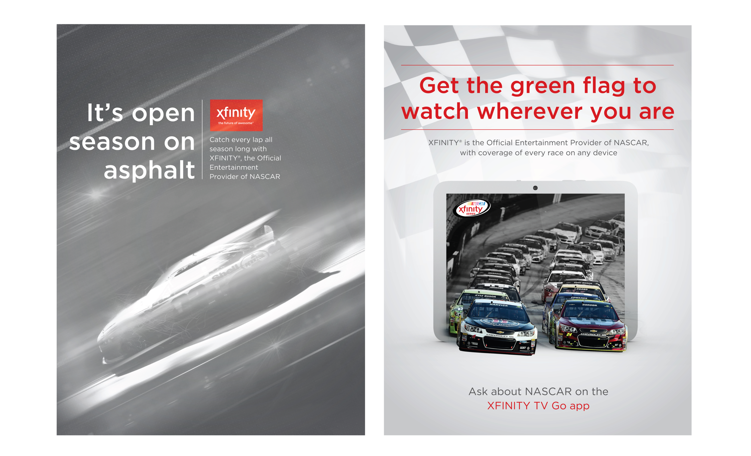 COMCAST XFINITY NASCAR PROMOTION POSTERS (CONCEPTS)
