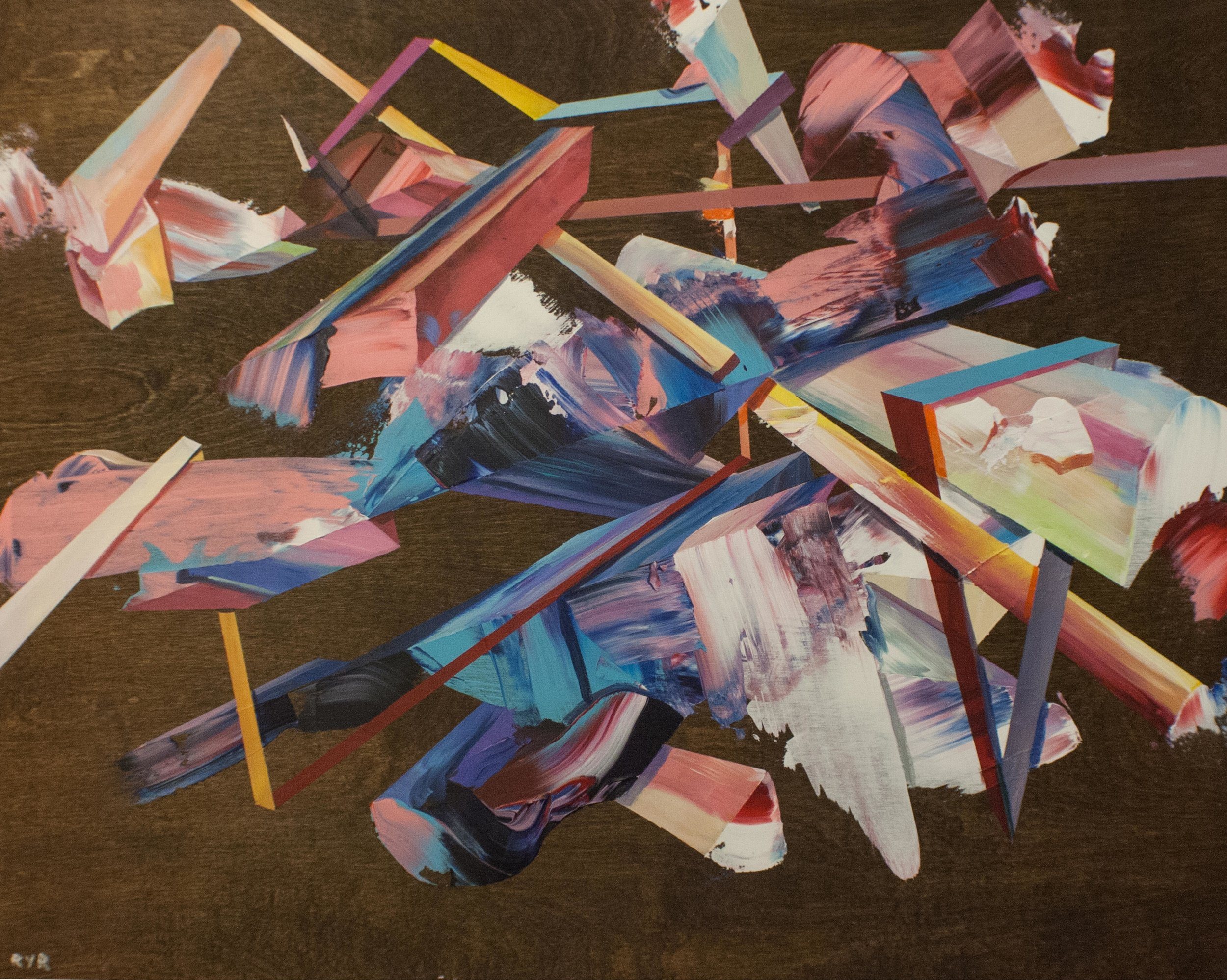 "PRISMS 36""x24"". ACRYLIC ON WOOD (SOLD)"