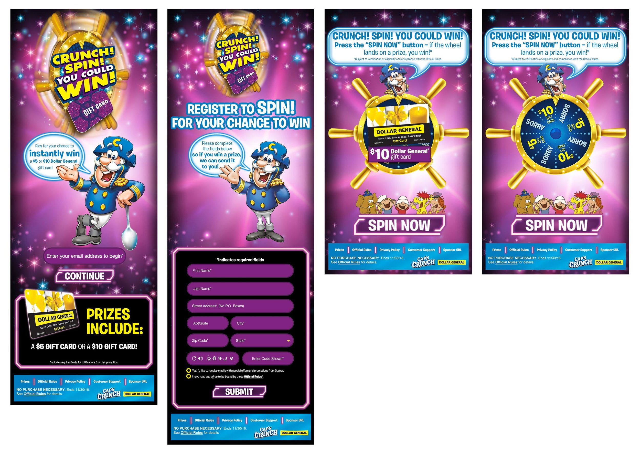 CAP'N CRUNCH SPIN TO WIN MOBILE SITE