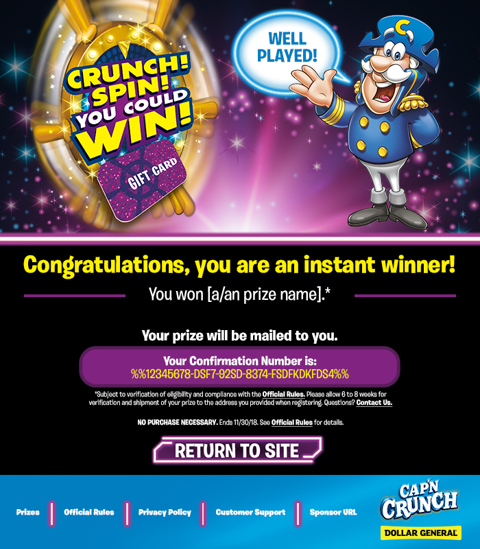 CAP'N CRUNCH SPIN TO WIN PROMOTIONAL EMAIL