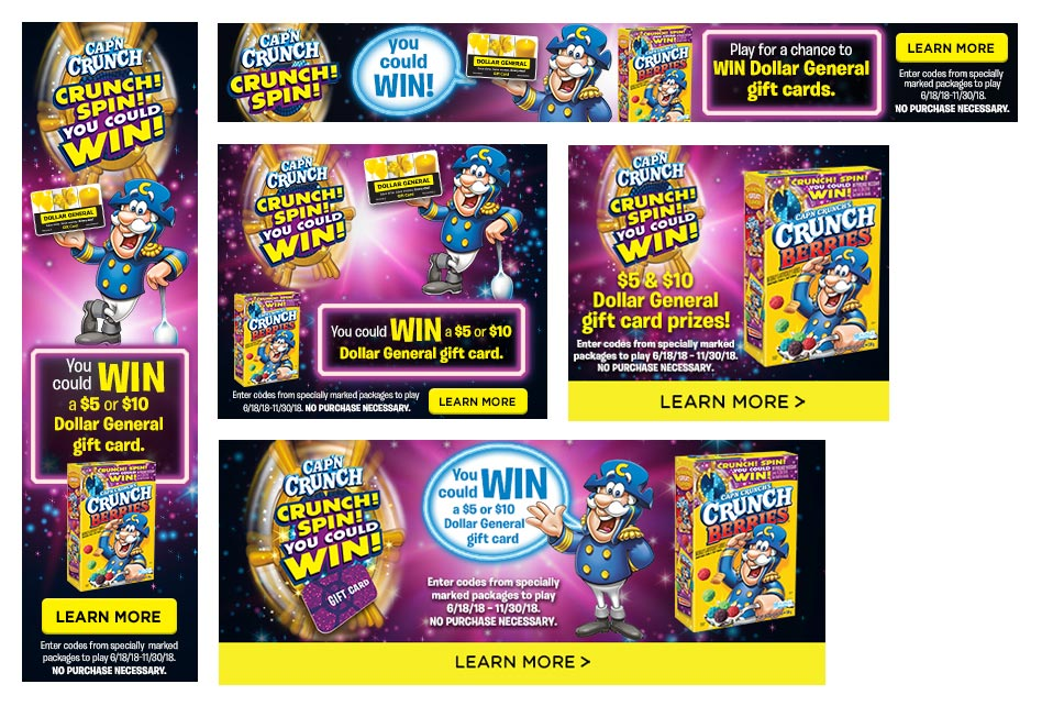 CAP'N CRUNCH SPIN TO WIN DIGITAL BANNERS