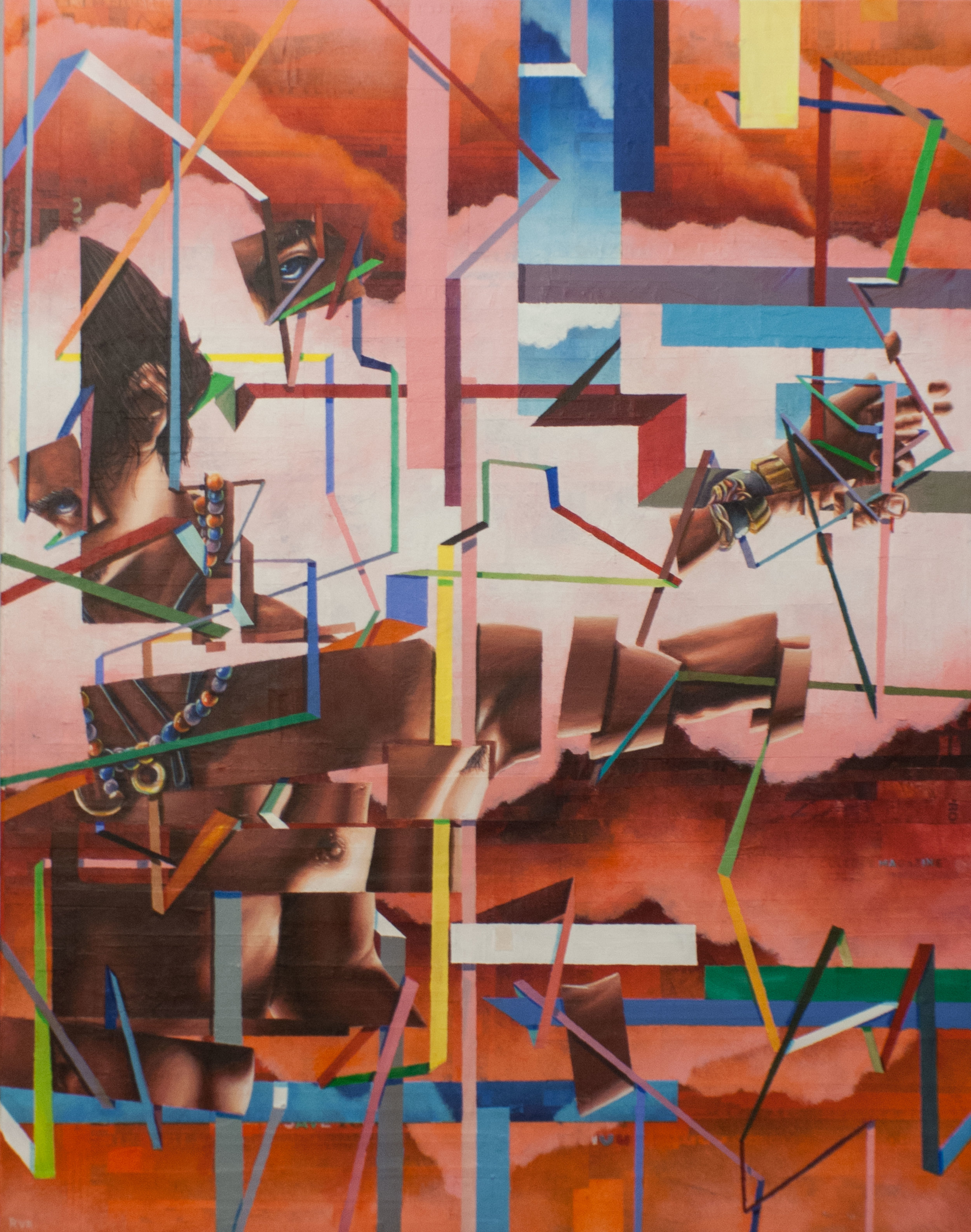 "CAN YOU PICTURE WHAT WILL BE, SO LIMITLESS AND FREE (PHASE 2): MOVEMENT 11 22""x28"". ACRYLIC & PAPER COLLAGE ON CANVAS"