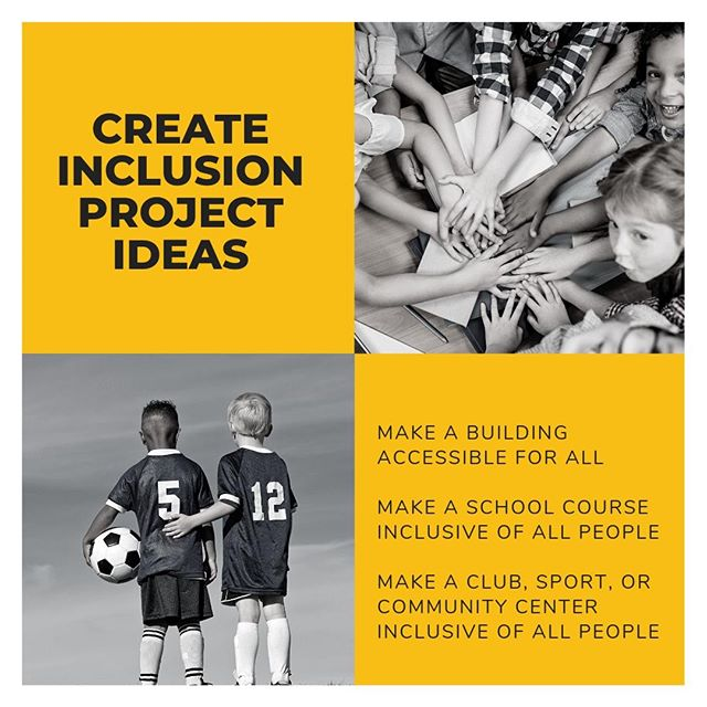 There are so many ways to make your community more inclusive! You could tackle a building that isn't accessible, make a school course available for all types of learners, or make a sport inclusive of all abilities. Email info@scoreafriend.org your ideas and get started today! #202inclusion #inclusion #scoreafriend #abilityinclusion #leadership #innovate #ideas
