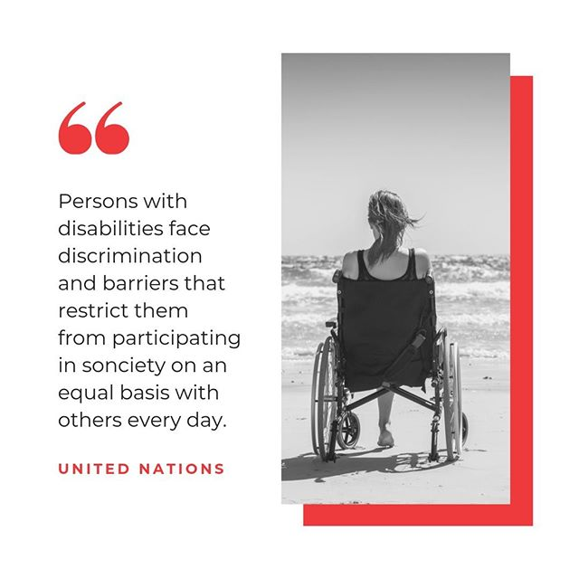 """According to the United Nations, """"Persons with disabilities face discrimination and barriers that restrict them from participating in society on an equal basis with others every day. They are denied their rights to be included in the general school system, to be employed, to live independently in the community, to move freely, to vote, to participate in sport and cultural activities, to enjoy social protection, to access justice, to choose medical treatment and to enter freely into legal commitments such as buying and selling property"""". - United Nations #abilityinclusion #disability #humanrights #unitednations #scoreafriend #2020inclusion"""