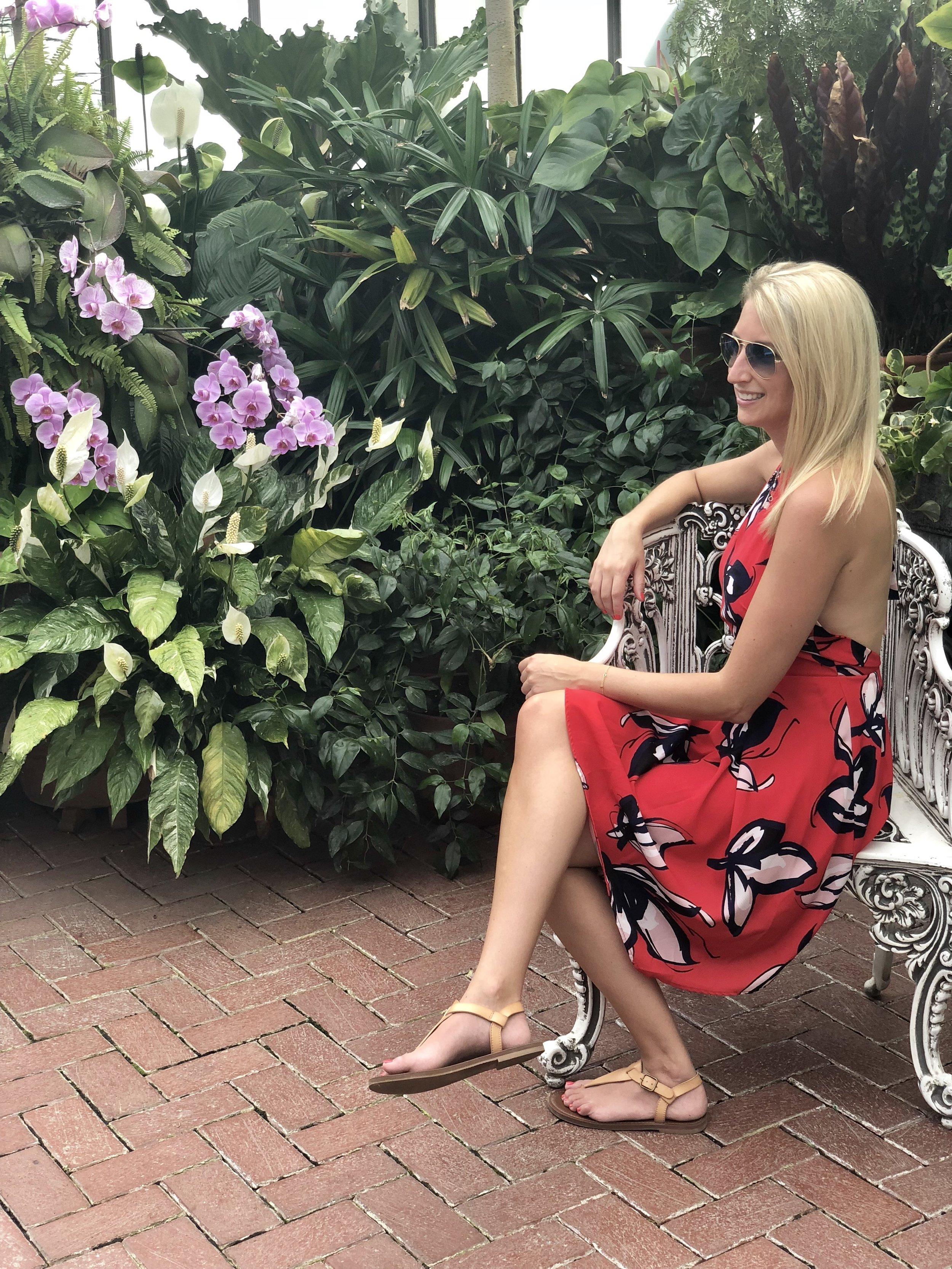 sitting in Biltmore Gardens