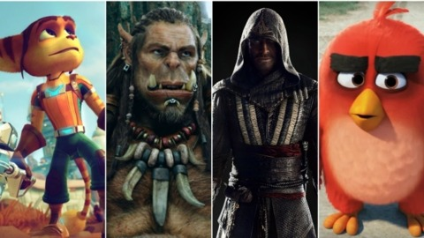 Ratchet and Clank(far left,) Warcraft(middle left,) Assassin's Creed(middle right,) and Angry Birds(far right) in their movie form.
