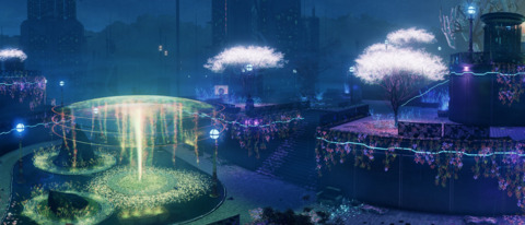 Zilla City, with its holographic plants and darker lighting. Reminds me of Far Cry 3:Blood Dragon