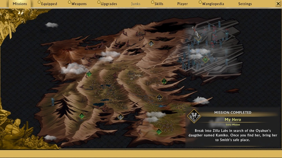 Not all areas are here, but this is how the map is set up, with new areas unlocking after each main and side quest.