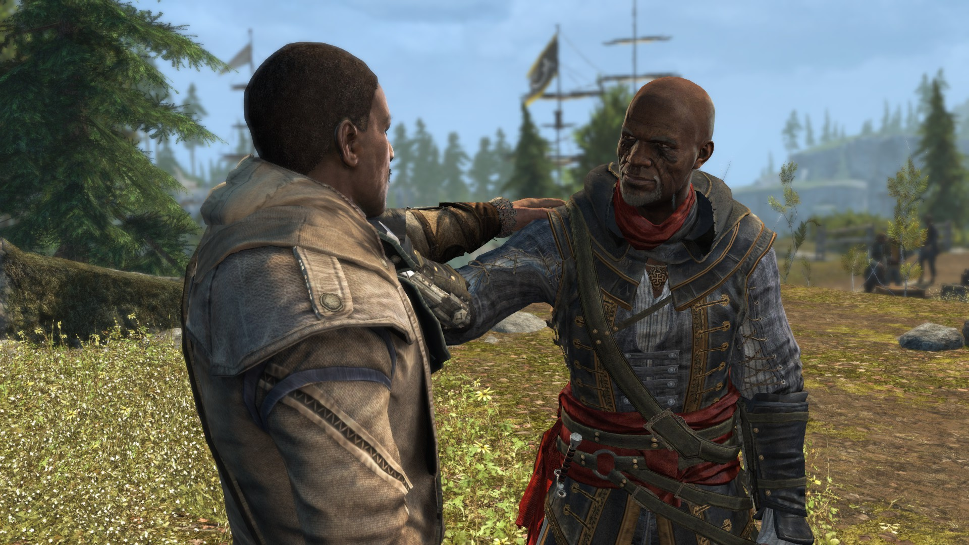 A young Achilles (from  AC3 ) and an old Adewale (from  AC4 ).