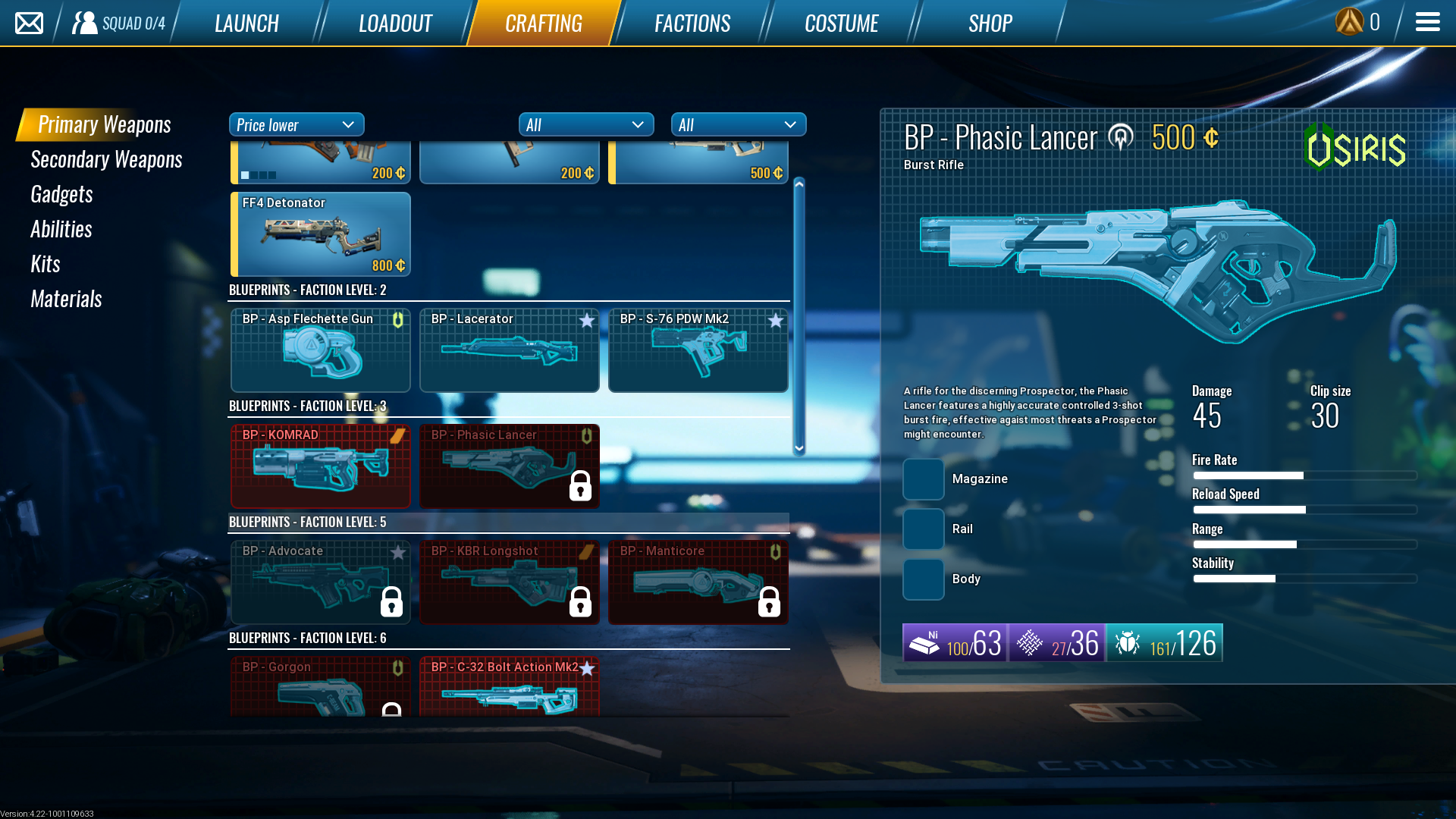 There are three different factions to level up, and each offer their own weapons to unlock.