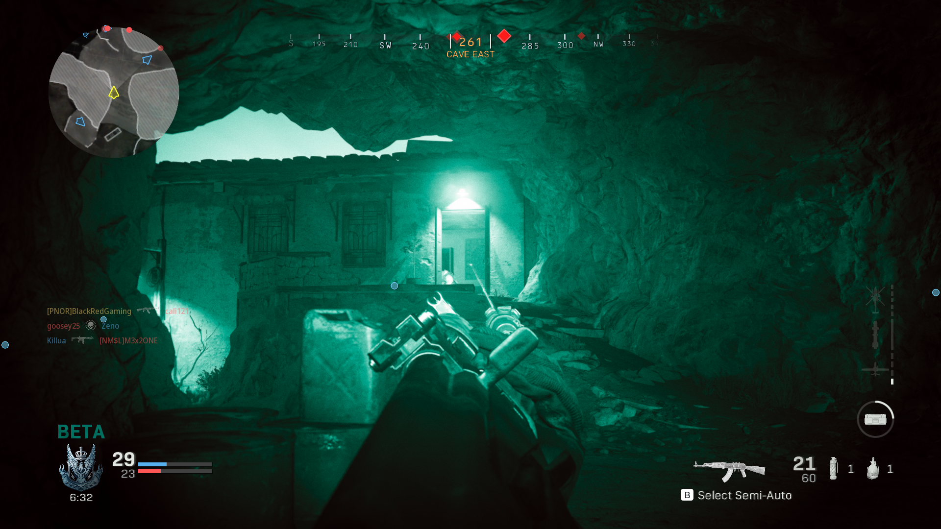Weapons are aimed diagonally in night vision mode, and watching out for lasers is a good way to find enemies before seeing them.