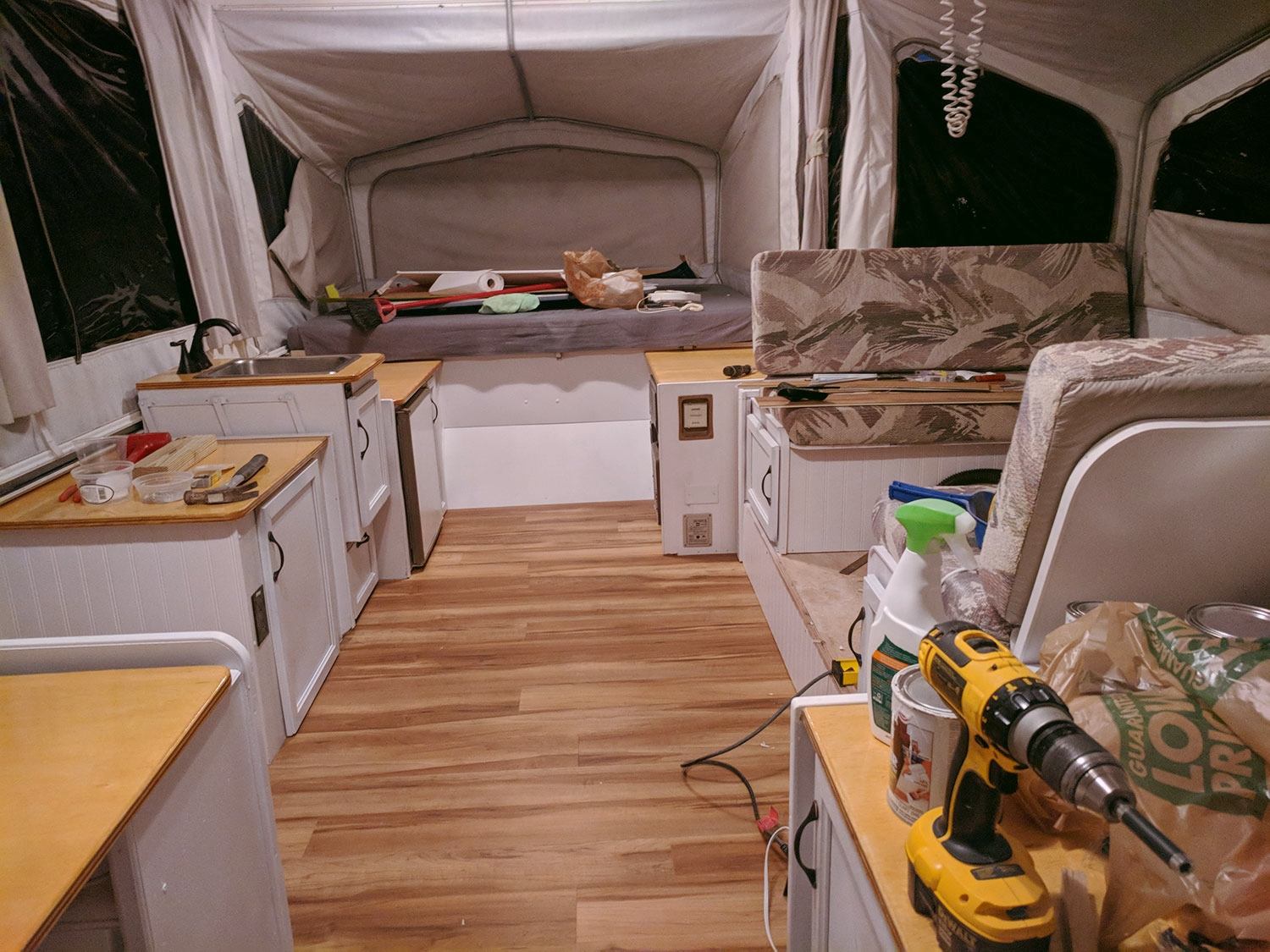 """An """"in progress"""" interior shot of  the Diane  - next up are new curtains and covers for the dinette cushions."""