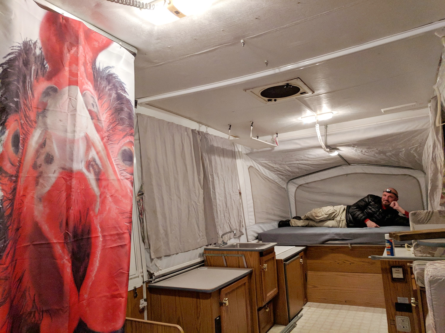 """A """"before"""" interior shot of  the Diane  - seriously, Eric! This pop-up camper ain't going to renovate itself!"""