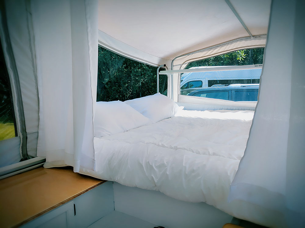 """An """"in progress"""" interior shot of  the Diane  - one of the sleeper bunks."""