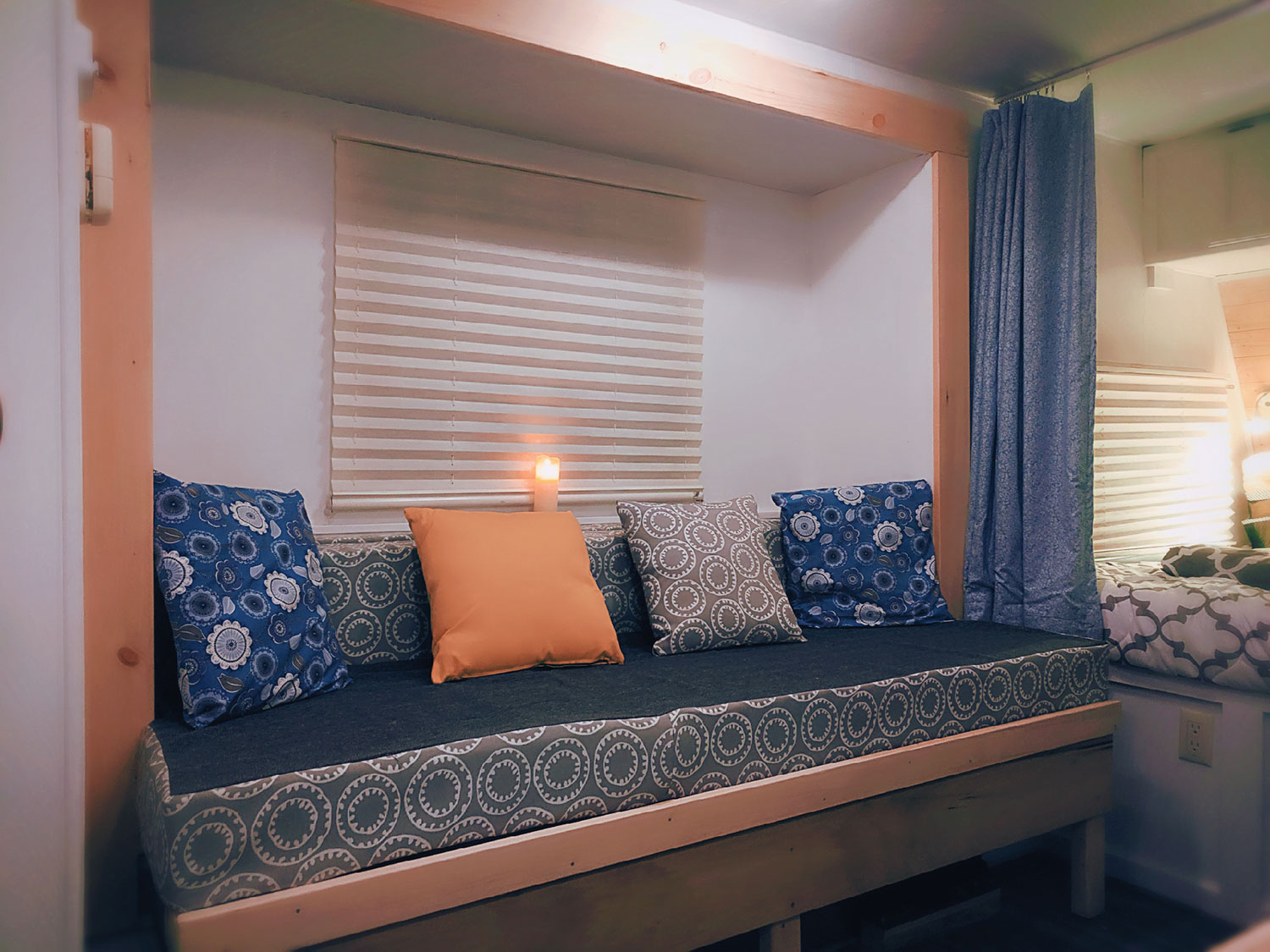 The dining area bench converts into bed.