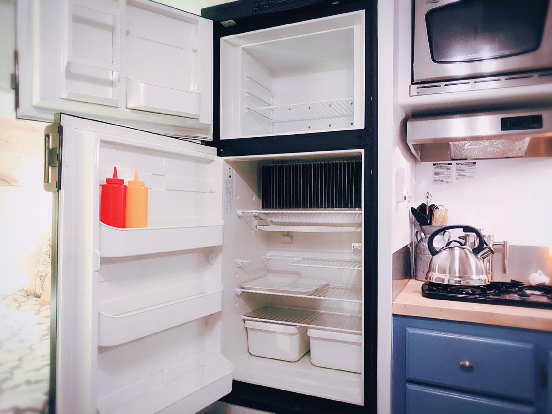 An interior shot of the refrigerator and freezer.