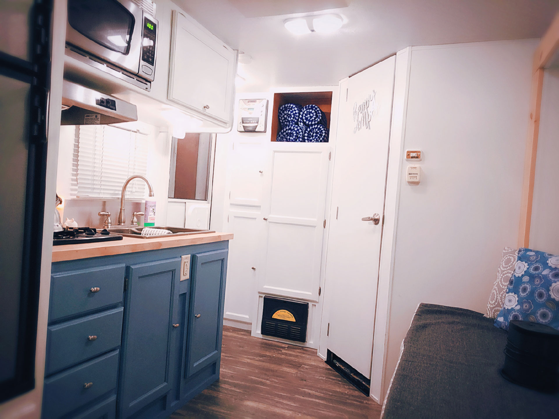 An interior shot of the Huxley camper trailer as seen from the queen bunk.