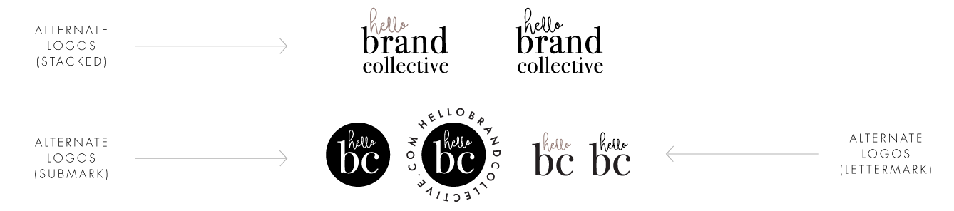 Hello Brand Collective | Anatomy Of A Brand Style Guide | Alternate Logos