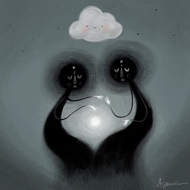 Connecting. . . . . . #illustration #art #drawing #clouds #instaart #artistsoninstagram #animation #sketchbook #painting #spirit #being #soul #sky