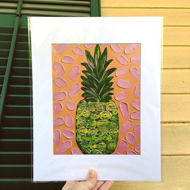 "Feeling thankful, praying for good weather, to feel better, and looking forward to next week! . . 5 days and counting... ✈️ 🏖 . . ""Piña Party"" Original Acrylic on Canvas and Prints available on my website, link in bio. 🍍💛 . . #thankful #givegodtheglory #giveittogod #pineapple #pineappleart #art #originalart #flashesofdelight #tropical #paradise #laissezlesbontempsrouler #coastalliving #coastal #coastalart #create #painting #colorful #passioncolorjoy #postitfortheaesthetic #shannagerbermanart #artstudio #printsforsale #artforsale #commissionsopen #artlovers #coastaldecor #thickpaint #impastopainting #southernartist #houstonartist"
