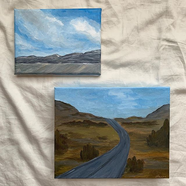 """O h  H a P p Y  d A y ! . . It's funny how God works. I'm so thankful today for an amazing opportunity where I least expected it! 💙 . . """"Taos Is Calling"""" 5x7 Original Acrylic on Canvas & """"All Roads Lead Home"""" 8x10 Original Acrylic on Canvas . . #landscapepainting #landscapeart #landscapes #artist #givegodtheglory #painting #workingartist #artistatwork #artstudio #landscape #taos #artistsoninstagram #instaart #artforsale #commissionsopen #instaartist #southernartist #themountainsarecalling #flashesofdelight #postitfortheaesthetic #artistalley #shannagerbermanart #passioncolorjoy #impressionism #thankful #art_spotlight #cottagestyledecor #artista #create #creativityfound"""