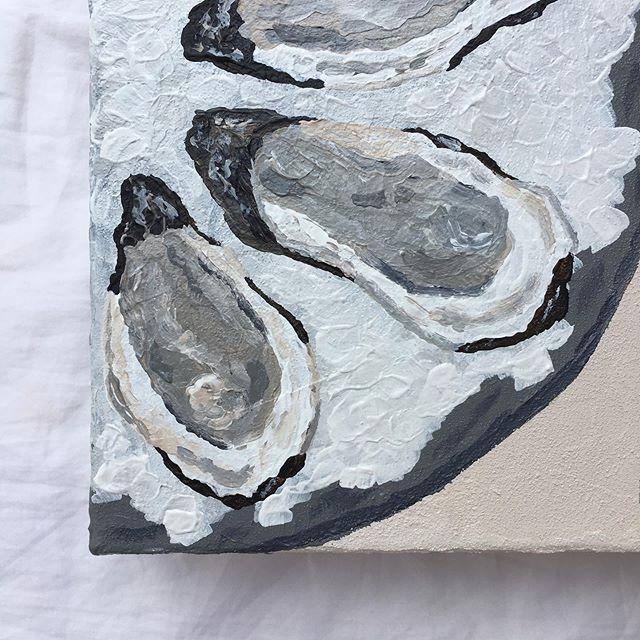 "A H O Y , Y ' A L L ! ! ! . . We are almost out of here! Less than 2 days til I'm in full beach mode! Anyone else traveling in August? If so, drop a comment and share! . . Detail shot of ""Oysters On The Half Shell"" Original Acrylic on Canvas . . #oyster #oysterart #foodart #painting #oysterlover #beach #coastalliving #coastalart #coastal #coastaldecor #art #artistsoninstagram #instaart #givegodtheglory #thankful #artforsale #artstudio #shannagerbermanart #foodpainting #instaartist #flashesofdelight #artistoninstagram #artista #create #creativityfound #postitfortheaesthetic #contemporaryart #homedecor #studiolife #southernartist"