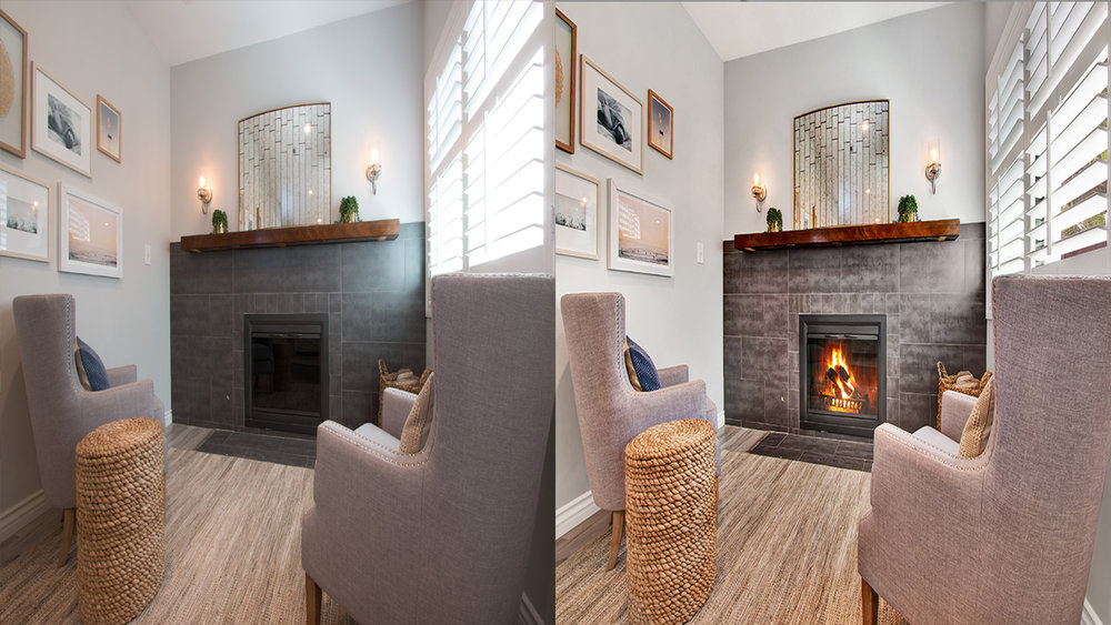 Add Fire to Fireplaces - Show just how cozy and inviting a room can be by adding a warming fire in the fireplace. Adding a fire always grabs the viewer's attention and is likely to evoke homely feelings of comfort.
