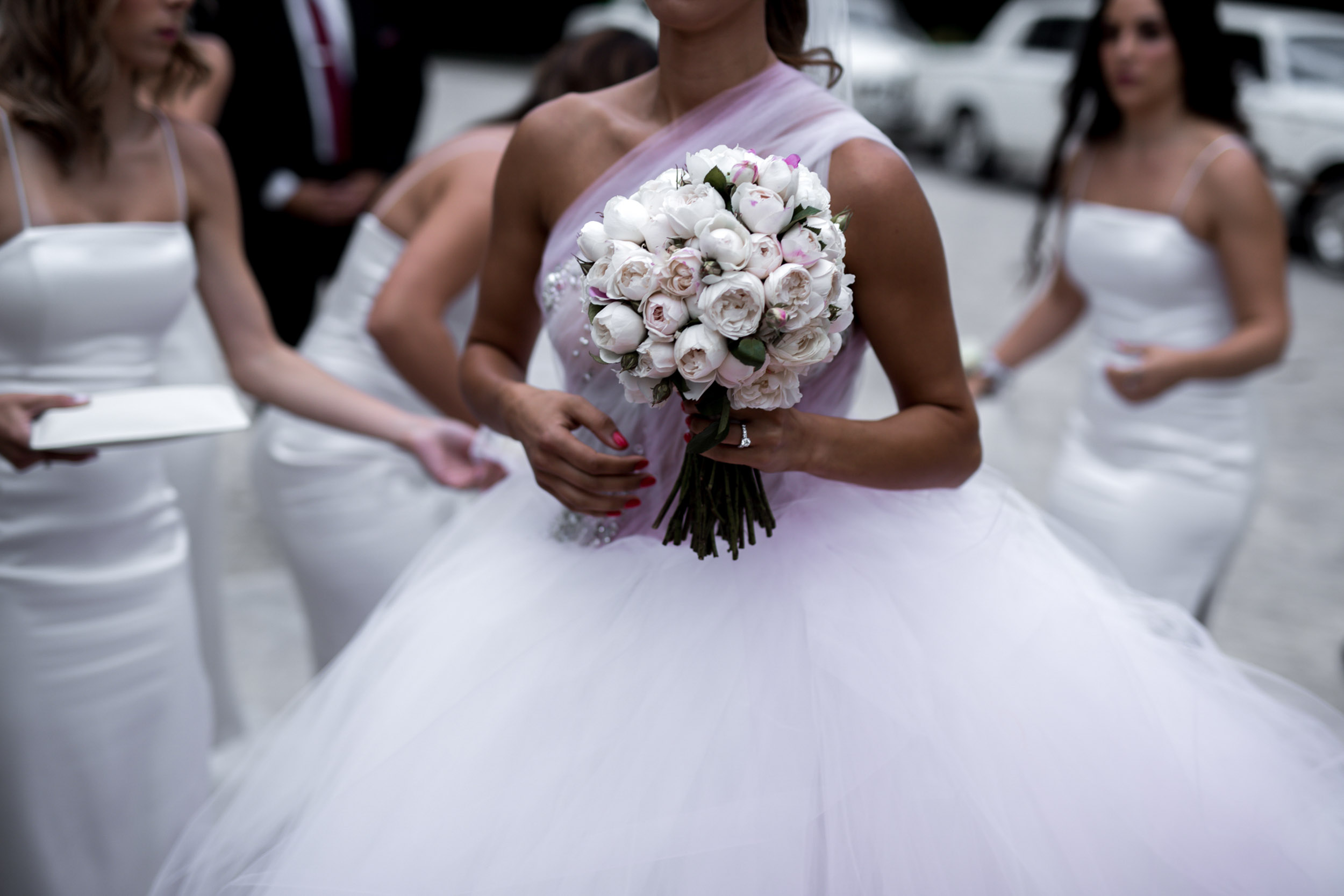 THE FLOWERS - Athanasia carried a stunning posy of blush and white peonies created by the talented Brett Matthew John.