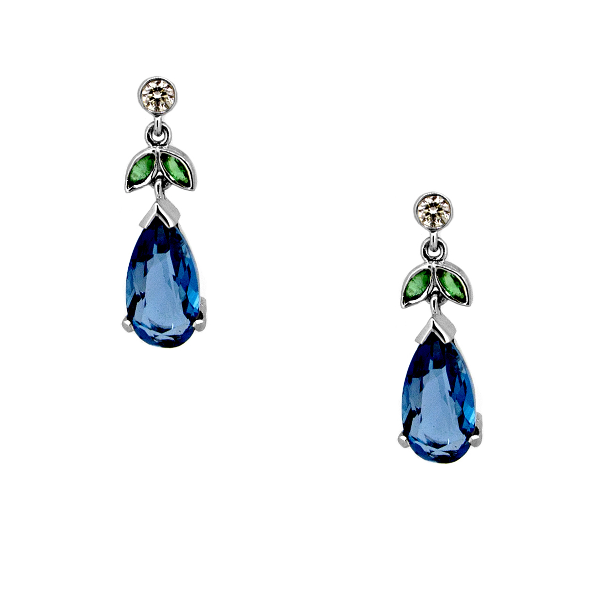 Blue Topaz, Green Aquamarine and Diamond Earrings.jpg