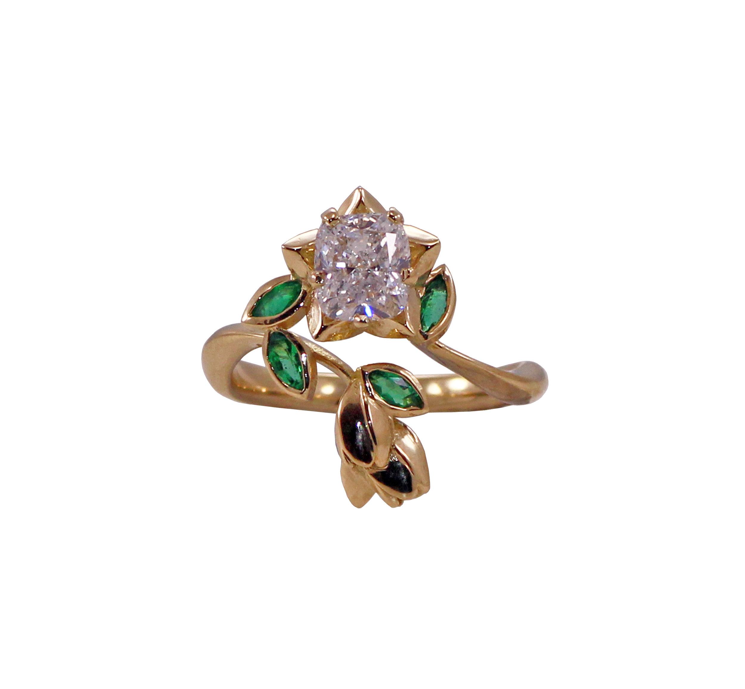 Cushion Cut Diamond & Emerald Ring .jpg