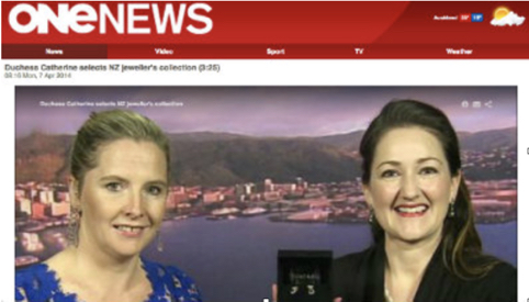 One News Breakfast show LIVE - Duchess Catherine selects NZ Jeweller's collections.