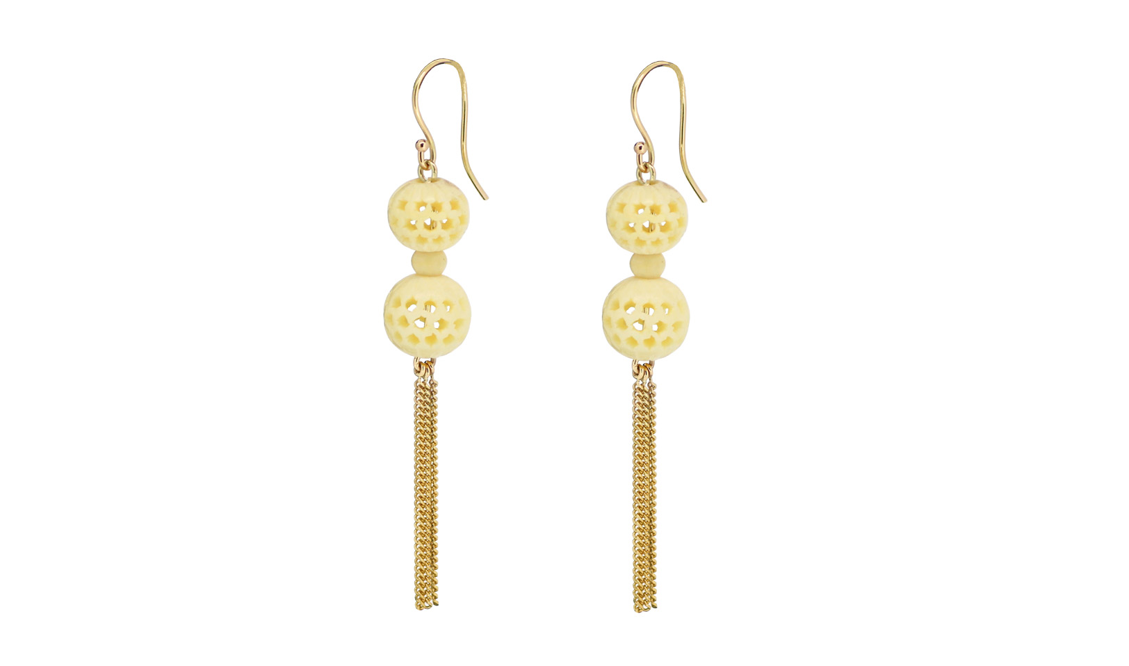 Antique Carved Ball and Gold Tassle Earrings