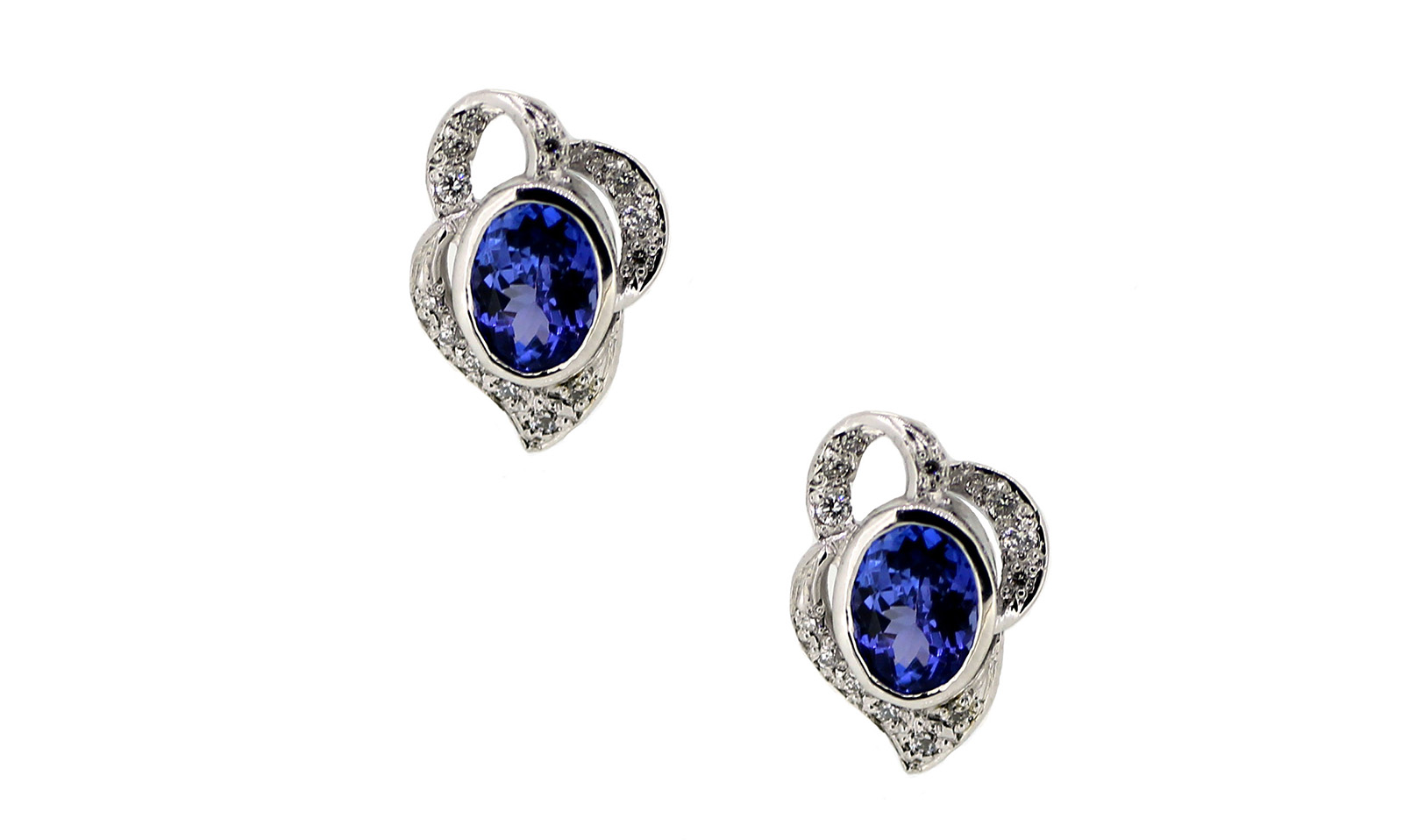 Tanzanite White Gold and Diamond Studs