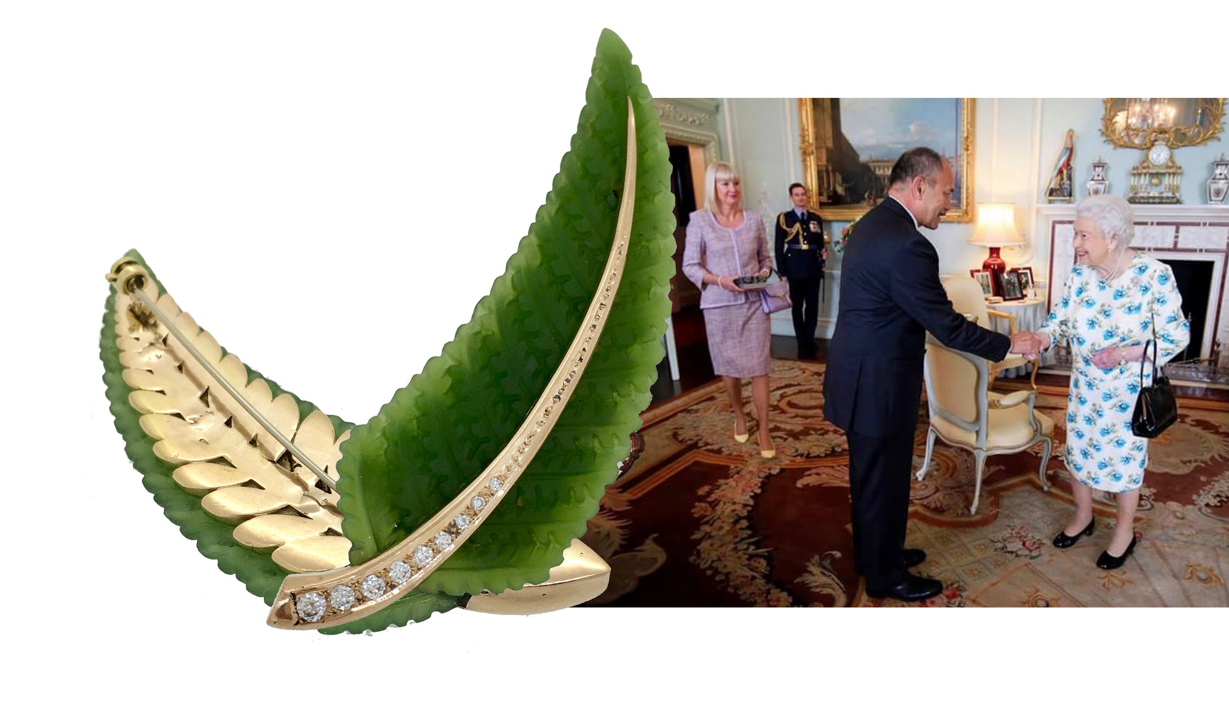 Pictured is the former Governor-General of New Zealand and current High Commissioner of New Zealand to the United Kingdom, His Excellency Sir Jerry Mateparae and Lady Janine Mataparae meeting her Majesty Queen Elizabeth II and presenting her with the brooch.