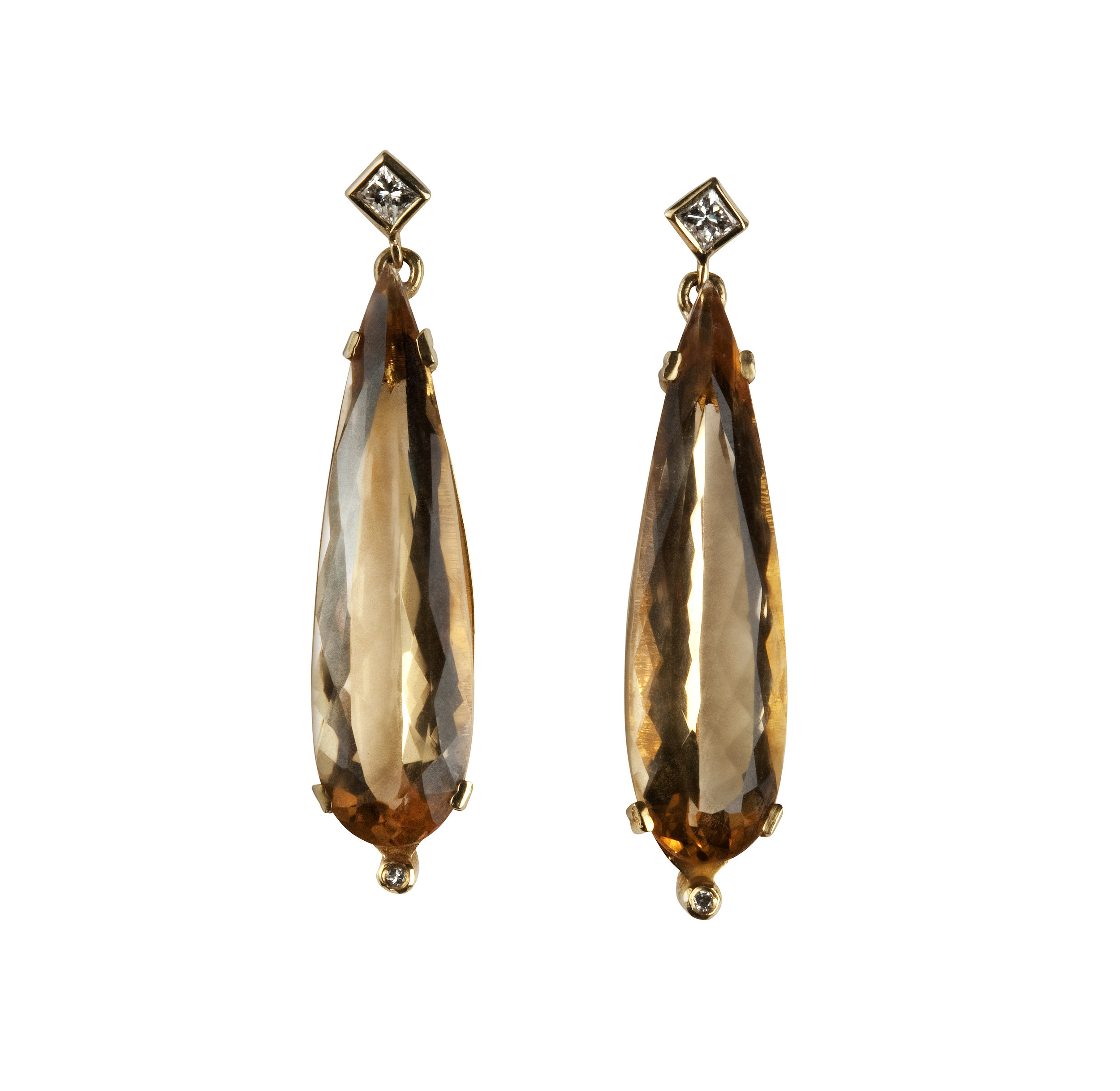 Golden Beryl and Diamond Earrings