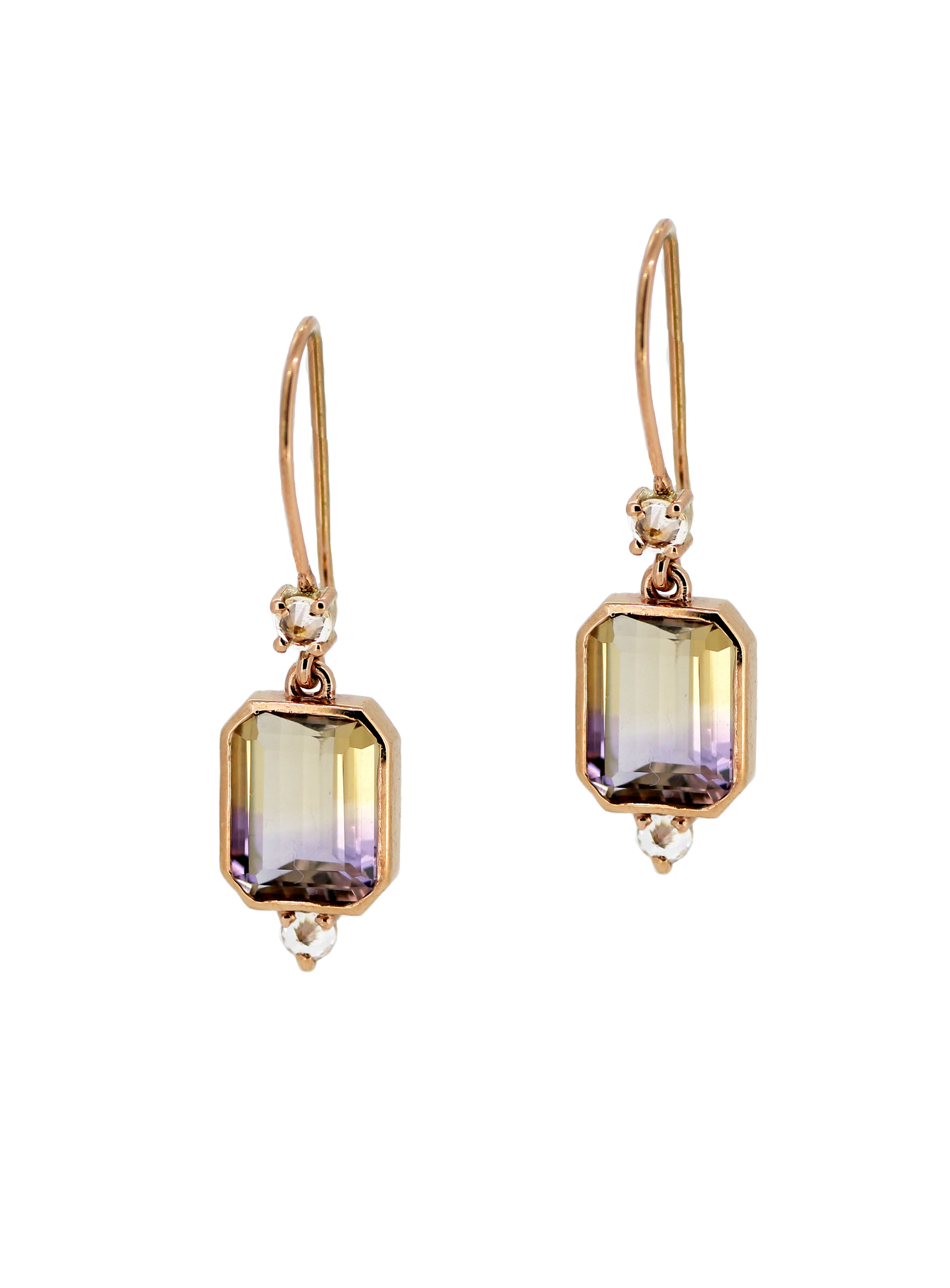 Ametrine, White Sapphire and Rose Gold Earrlings